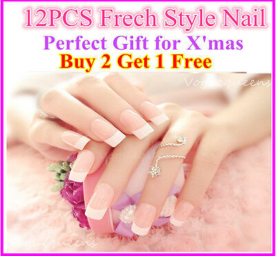 Buy2get1Free 12PCS Frech Style Acrylic Fake Nail Set / False Nail Tips with Glue