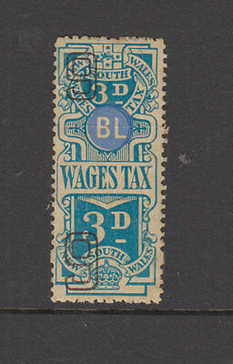 NSW 1938-9 3d Blue WAGES TAX -Revenue-joined pair complete- Elsmore Cat $20 LHM