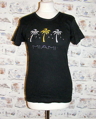 Size 10 vintage 80s shortsleeve crew neck Miami sparkly palm tree t-shirt (GY51)