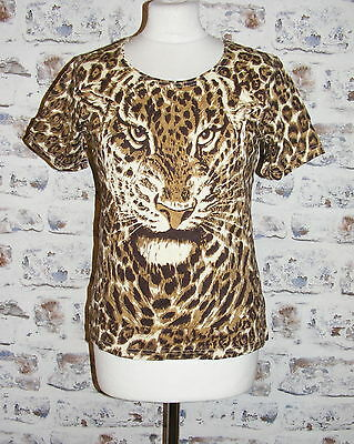 Size 12 vintage 90s short sleeve scoop neck t-shirt leopard face/print (GY57)