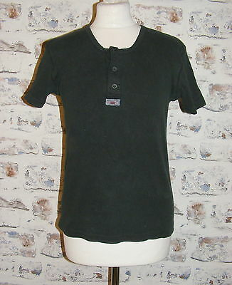 Size 14 vintage 90s Levi's short sleeve button neck t-shirt ribbed black (GY48)