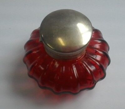 Vintage Style Round Red Glass Ink pot