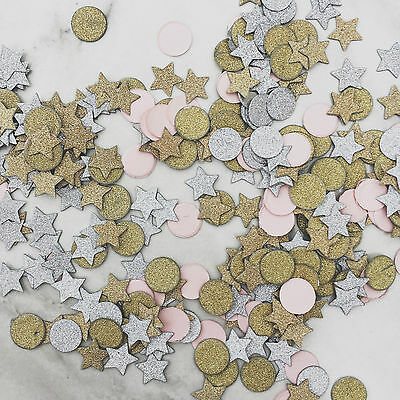 Glitter Paper Confetti - Stars & Round - Pink, Silver and Gold Avaialble
