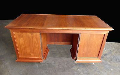 Vintage Mid Century Danish Modern Walnut Six Drawer WRITING DESK Library Table