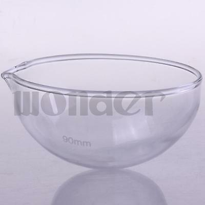 90mm Diameter Glass Evaporating dish Round bottom with spout For Laboratory