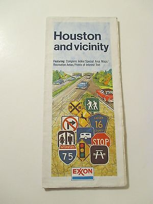 Vintage EXXON HOUSTON & VICINITY TEXAS Oil Gas Service Station Road Map