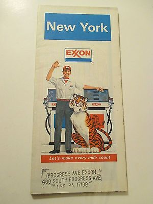Vintage 1981 EXXON NEW YORK Oil Gas Service Station Road Map