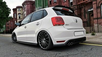 Cup Diffusor ansatz Carbon für VW Polo GTI 6R Heckansatz Flap Splitter rear Side