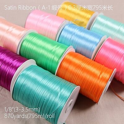 20 Yards 3mm Satin Ribbon Wedding Party Decoration Craft Sewing Many Colors