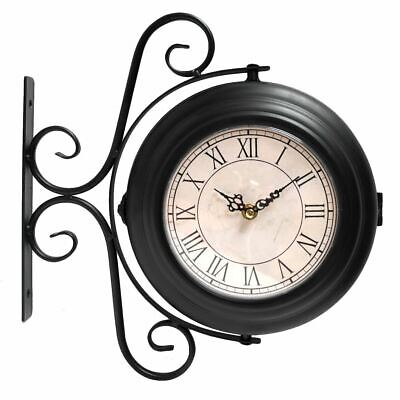 Modern Station Double Sided Wall Clock Indoor Home Mount Patio Display Hang