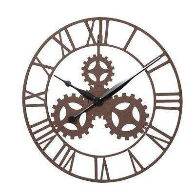 50cm VINTAGE GEAR & COG DESIGN WALL CLOCK LARGE HOME ROMAN NUMERALS STEAMPUNK