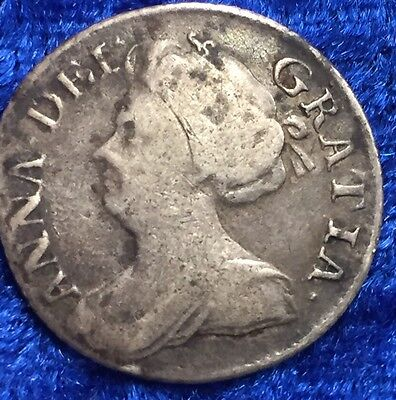 Rare Antique Solid Silver Queen Anne 1711 Sixpence Large Lis Spink 3619