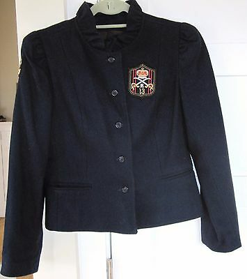 Super Cute Vintage Women's Navy Blue Wool Blazer  Polo Patches Short 1980's