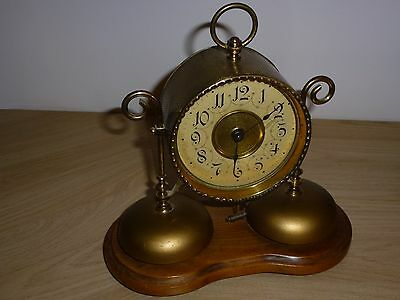 Antique German Mantle Clock On Wooden Plinth And Dual Alarm Bells Fully Working
