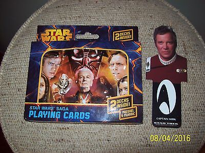 Star Wars Saga Playing Cards- (2) Decks & (1) Star Trek Capt Kirk- Bookmark
