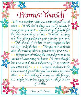 "Card & Envelope  ""Promise Yourself"" Words of Encouragement - Great Gift"