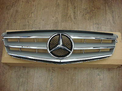 Front Radiator Grille Panel Mercedes C-Class W204 07-14 Silver Chrome