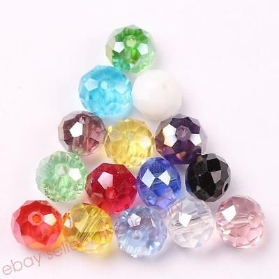 NEW Rondelle Faceted Crystal Glass Loose Spacer Beads Jewelry TOP 4/6/8/10mm