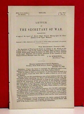 Letter of Secretary of War-Report upon Sioux Indians of the Upper Missouri-1869