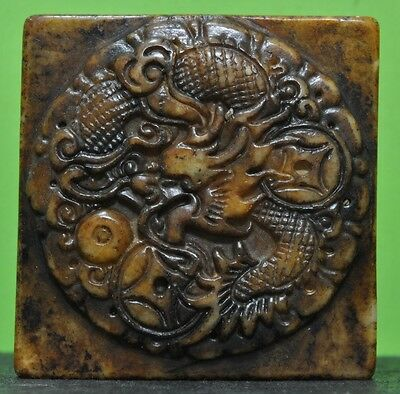 Antique Chinese Seal With Dragon & Ideograms In Each Face Handcarved In Old Jade