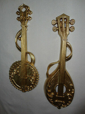 Home Interiors  17'' Gold Metal Musical Instruments '' Wall Plaques   2pc Set