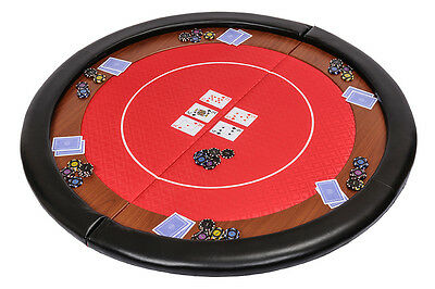 Riverboat Folding Poker Table Top in Red Speed Cloth and Leather Armrest 120cm