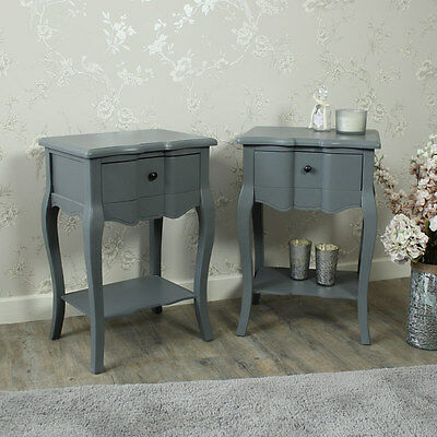 pair of grey bedside Tables Shelf lamp bedroom furniture french country chic