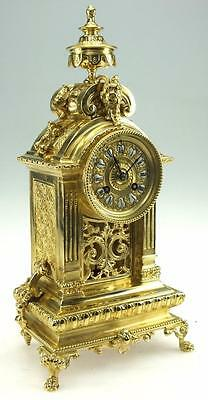 Amazing Large Antique French Rococo Bronze Ormolu 8 Day Striking Mantel Clock