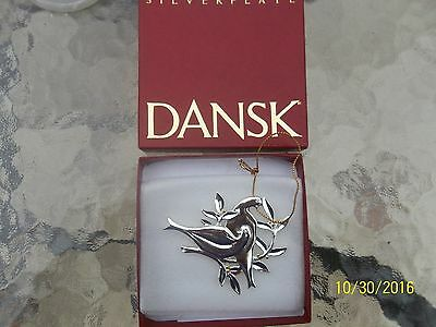 Dansk Silverplated Two Turtle Doves Christmas Ornament