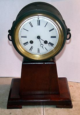 Antique French drum mantle clock on plinth quality mvt by Marc / Japy - working