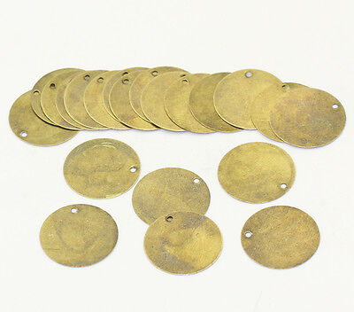 Round Antique Bronze 20Mm Blank Stamping Tags Pendants Charm Findings