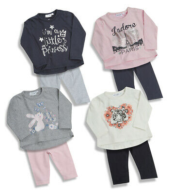 Newborn Baby Infant Girls 2 Piece Top & Leggings Outfit Bundle Ages 0-24 Months