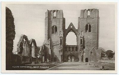 Vintage Postcard. RP. Elgin Cathedral, West Towers. Unused Pre.1919. Ref:6-106