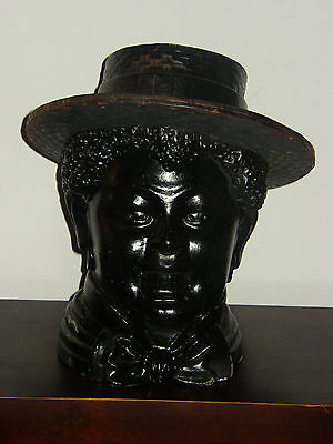 Late 19th Early 20th Century Carved Wood Tobacco Jar Americana Style Man Head