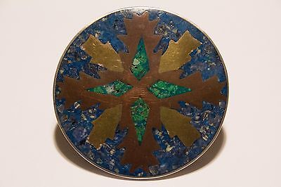 Large Vintage Mexico Taxco Silver Inlay Brooch Signed Jab