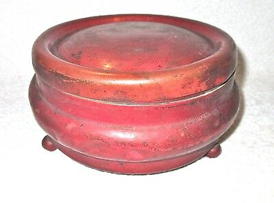 Antique/Vintage Round Solid Copper Box with Lid - Golden Copper