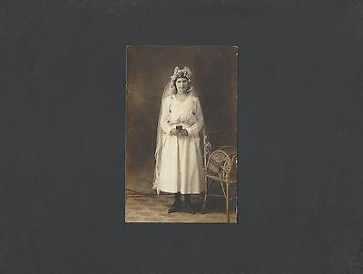 Vintage Real Photo Postcard of Girl in Communion Dress