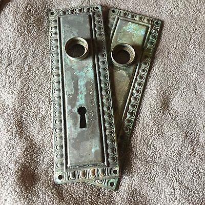 Antique  Pair Of Salvaged Architectural door knob Backplates #4