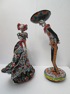 """DANCING CHARRO COUPLE catrina ethnic mexican folk art day of the dead 18"""" tall"""
