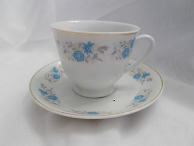Tea Cup & Saucer Made In China Blue, Grey  Flowers Gold Rim