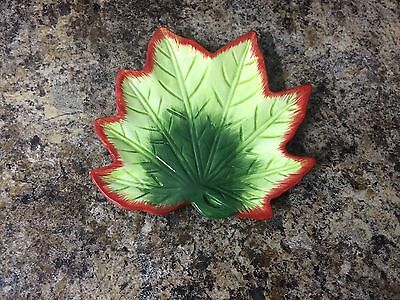 Avon China Fall Leaf Candy Trinket Dish Green With Red Trim