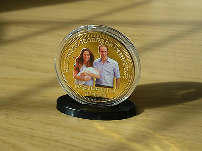 Prince William Kate Middleton Prince George Gold Clad Coin In Acrylic Case