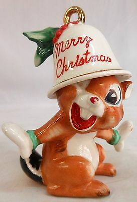 Vintage Chipmunk With Merry Christmas Bell On His Head Made In Japan