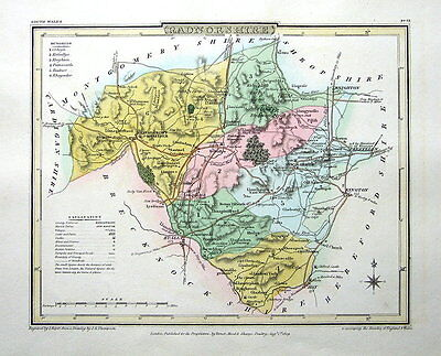 RADNORSHIRE, WALES,  Roper Antique County Map 1809