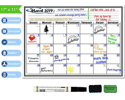 "17"" x 11"" Monthly Dry Erase Magnetic Fridge Calendar Home Flexible Board Planner"