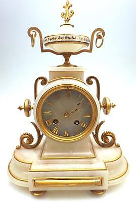 French Classical Ormolu & Alabaster 8 Day Striking Mantel Clock With Gilt Mounts