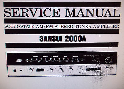 Sansui 2000A Stereo Tuner Amp Service Manual Inc Blk Diag Printed Bound English