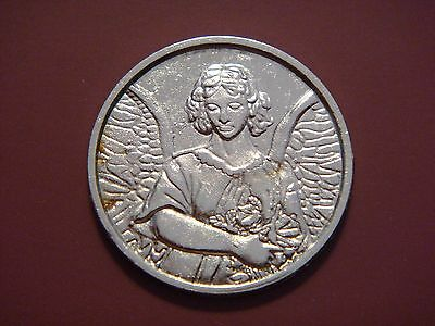 Guardian Angel for Protection Small Personal Pocket Token Silver Tone Coin
