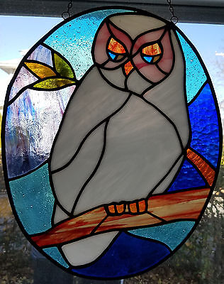 Beautiful Vintage Stained Glass Snow Owl Sun Catcher