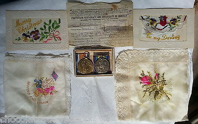 Ww1 Medals Group Royal Fusiliers Durham Light Infantry Victory War Silk Postcard